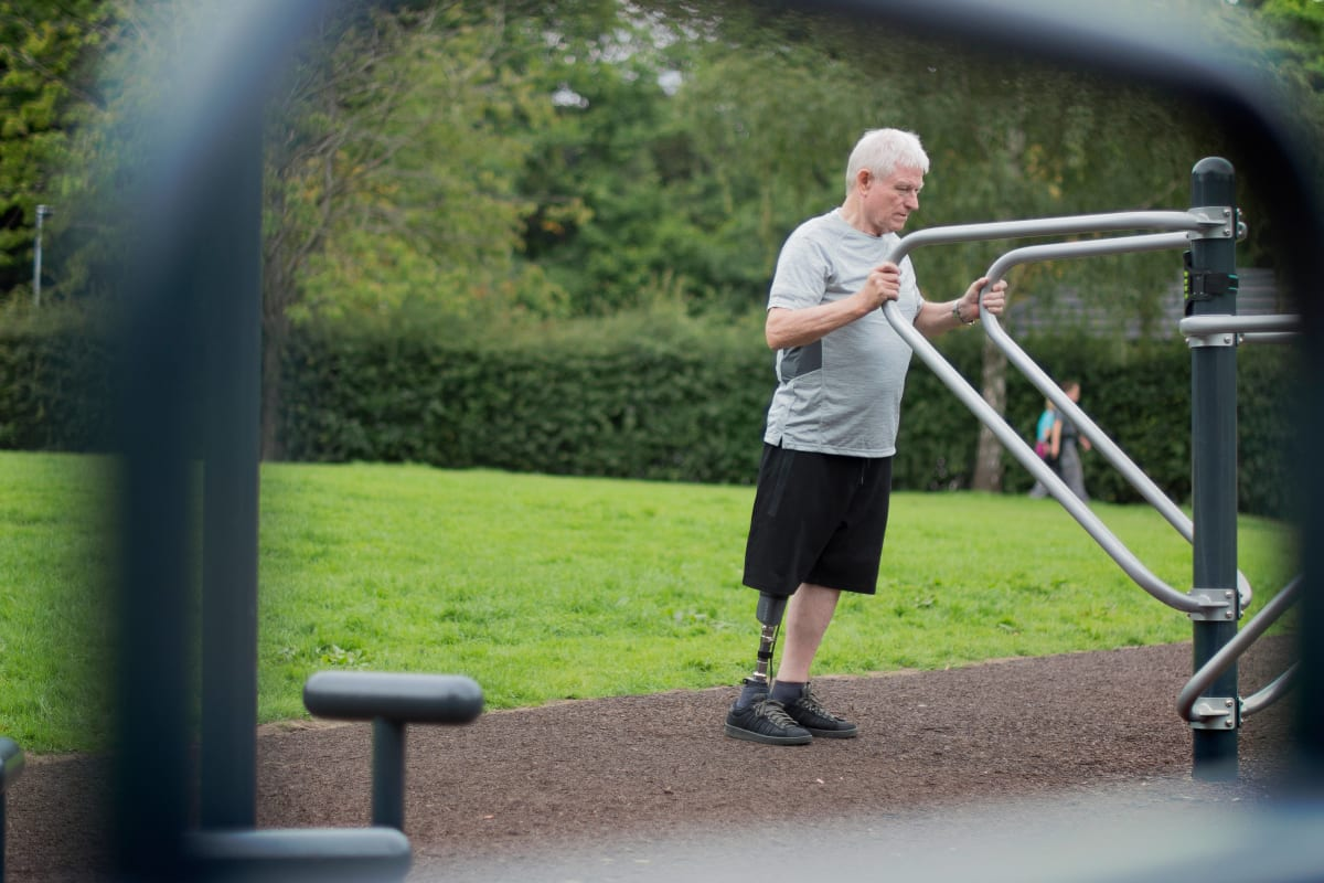 Balancing exercises for prosthetic knee users