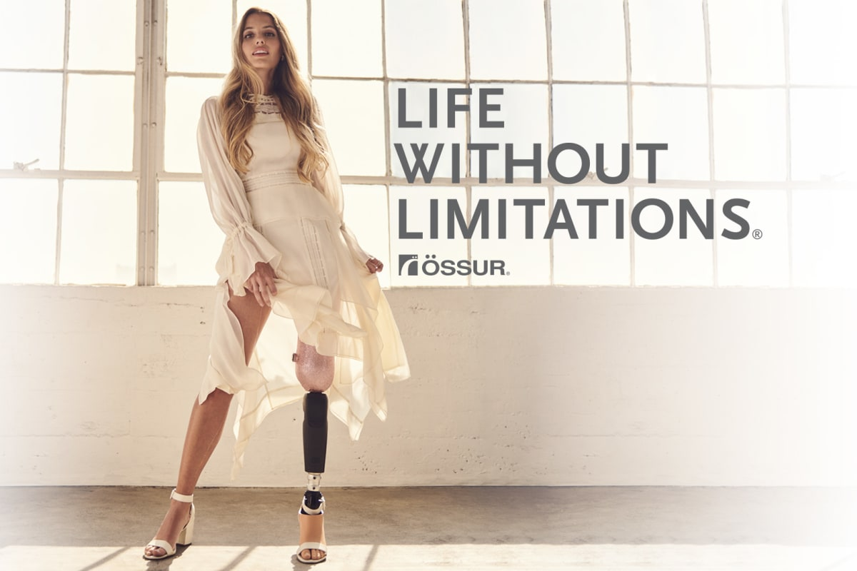 Paola Antonini wearing Pro-Flex LP Align prosthetic foot with text Life Without Limitations